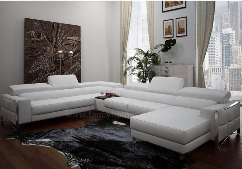 Fancy Homes Vito-D modular leather sofa featuring adjustable headrests and built-in coffee table
