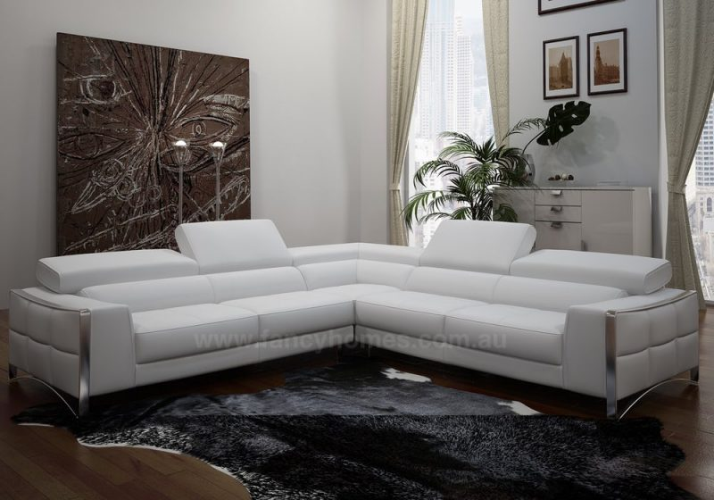 Fancy Homes Vito-C corner leather sofa with easy-adjust headrests and polished stainless steel legs