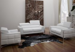 Fancy Homes Vito lounges suites leather sofa featuring easy-adjust headrests and polished stainless steel legs