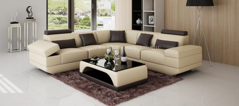 Fancy Homes Casanova-B corner leather sofa in beige and brown leather