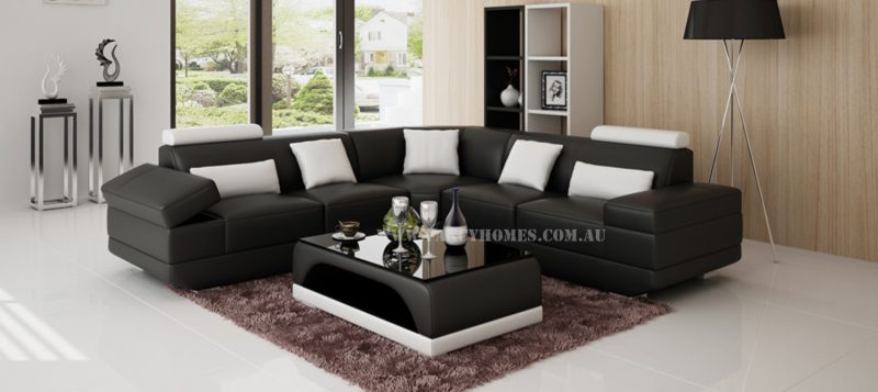 Fancy Homes Casanova-B corner leather sofa in black and white leather