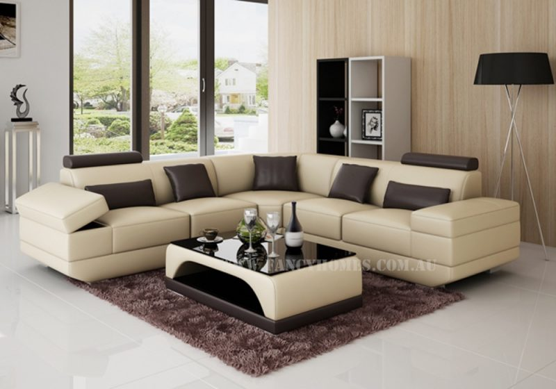 Fancy Homes Casanova-B corner leather sofa in beige and brown leather featuring storage armrests and adjustable headrests