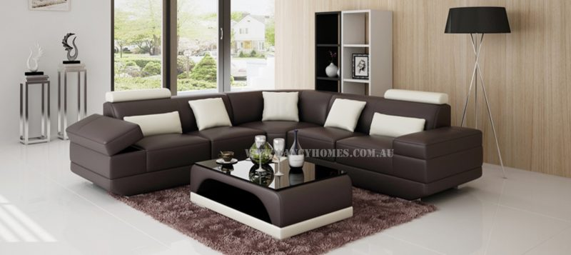 Fancy Homes Casanova-B corner leather sofa in brown and white leather