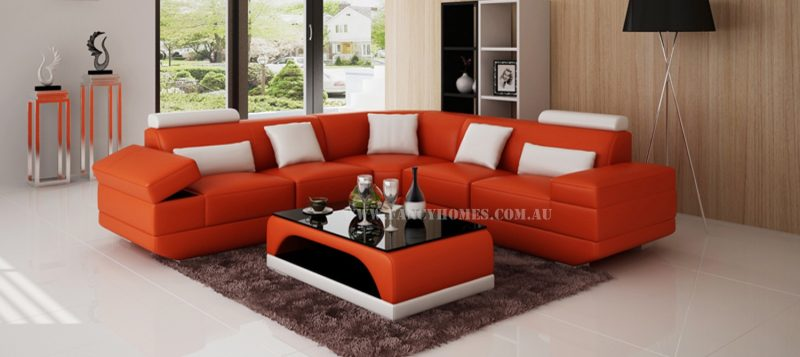 Fancy Homes Casanova-B corner leather sofa in orange and white leather