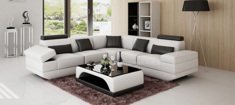 Fancy Homes Casanova-B corner leather sofa in white and black leather