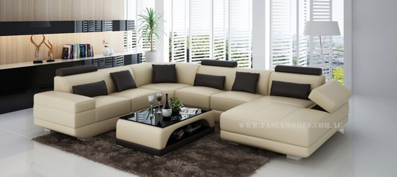 Fancy Homes Casanova modular leather sofa in beige and black leather