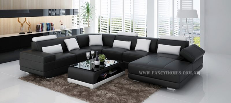 Fancy Homes Casanova modular leather sofa in black and white leather