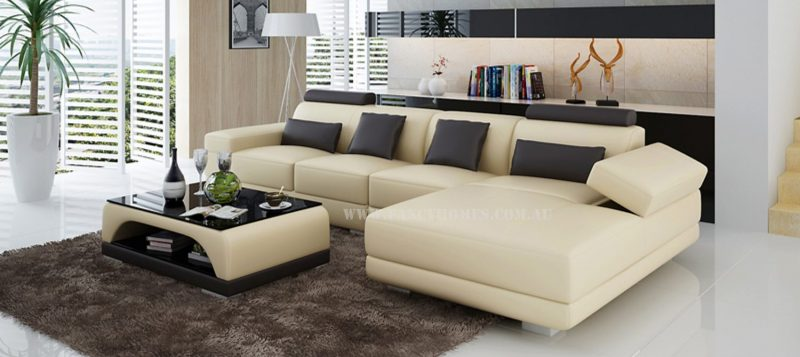Fancy Homes Casanova-C chaise leather sofa in beige and brown leather