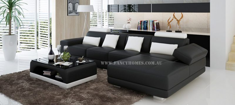Fancy Homes Casanova-C chaise leather sofa in black and white leather
