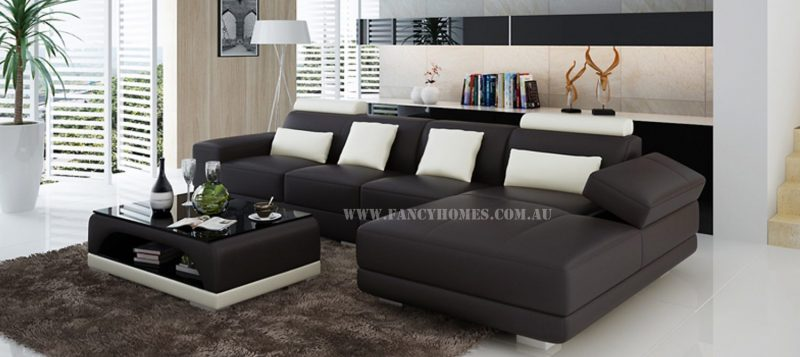 Fancy Homes Casanova-C chaise leather sofa in brown and white leather