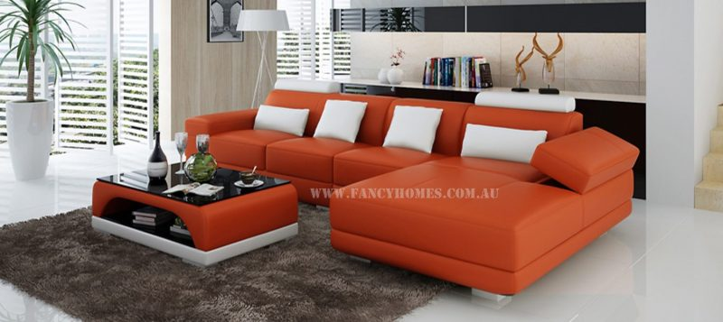 Fancy Homes Casanova-C chaise leather sofa in orange and white leather