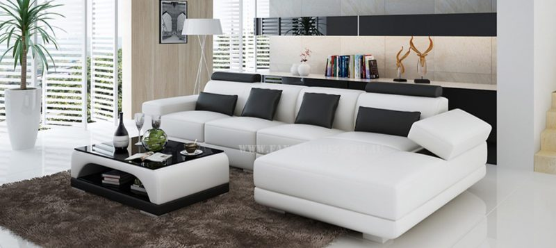 Casanova-C chaise leather sofa in white and black leather