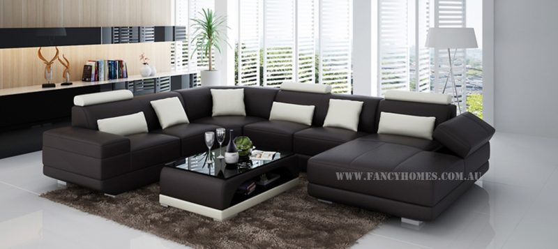 Fancy Homes Casanova modular leather sofa in brown and white