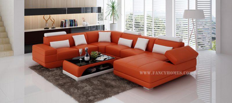 Fancy Homes Casanova modular leather sofa in orange and white leather