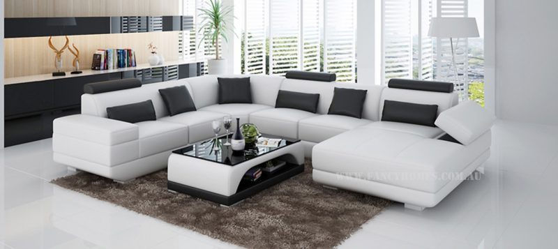 Fancy Homes Casanova modular leather sofa in white and black leather