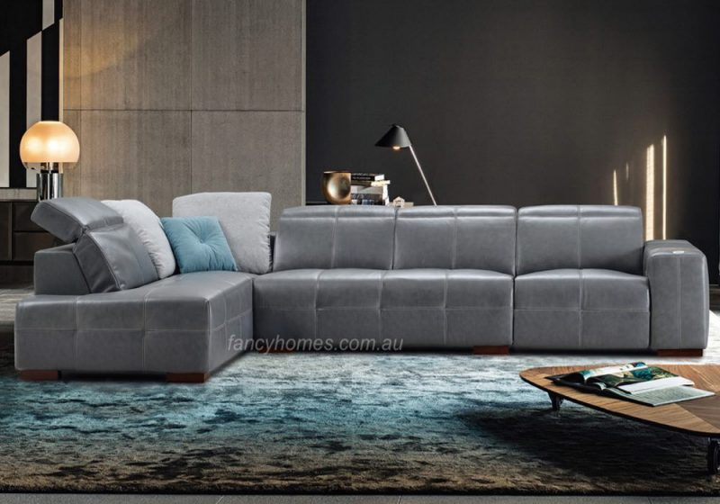 Fancy Homes Morgan recliner chaise leather sofa in grey leather