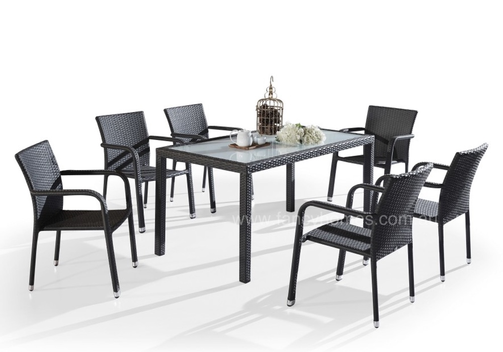PITNEY  7PCS OUTDOOR WICKER DINING TABLE SETTING