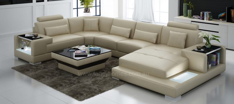 Fancy Homes Verena modular leather sofa in beige leather