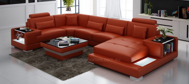 Fancy Homes Verena modular leather sofa in orange leather with LED lighting system and built-in side tables