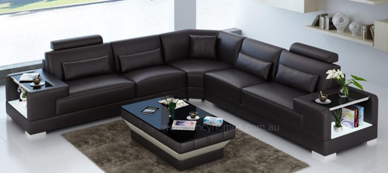 Fancy Homes Verena-B corner leather sofa in brown leather