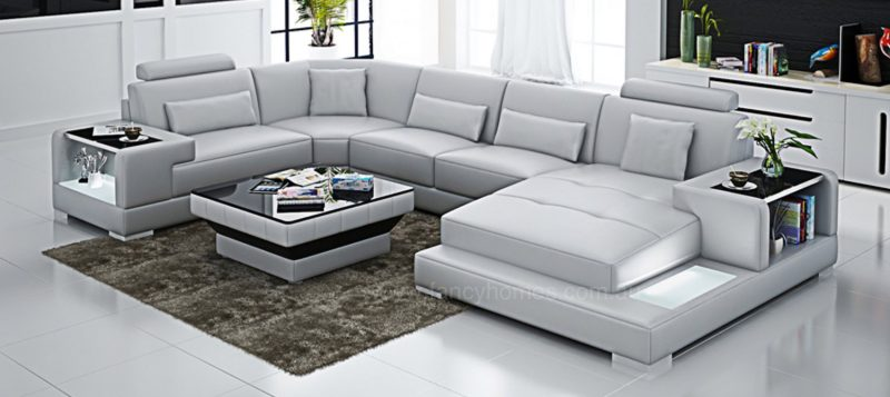 Fancy Homes Verena modular leather sofa in white leather with LED lighting system and built-in side tables