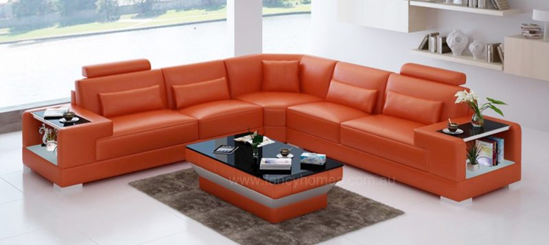 Fancy Homes Verena-B corner leather sofa in orange leather with built-in side tables and LED lighting system