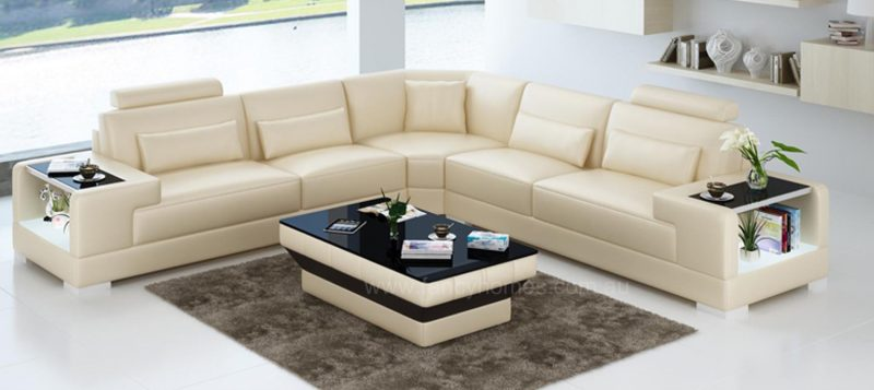 Fancy Homes Verena-B corner leather sofa in beige leather with built-in side tables and LED lighting system