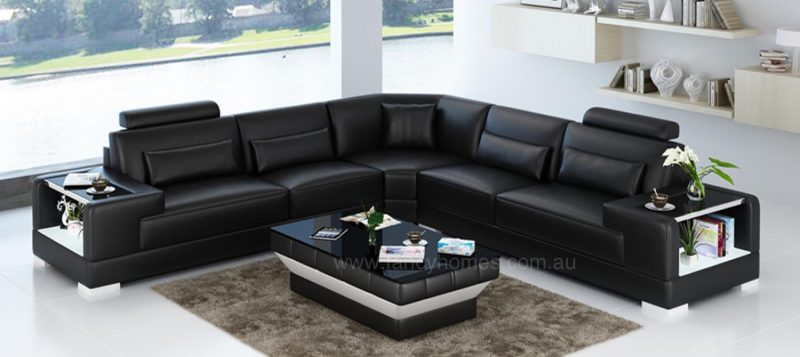 Fancy Homes Verena-B corner leather sofa in black leather with built-in side tables and LED lighting system