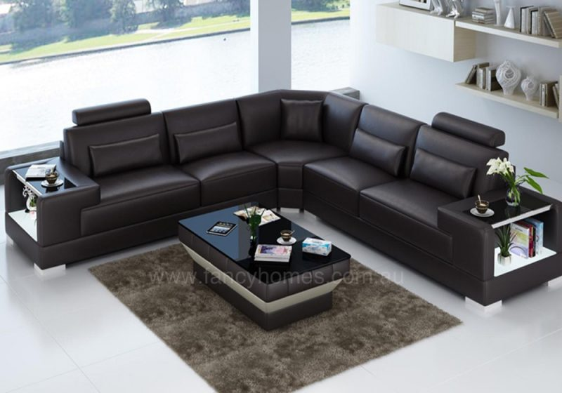 Fancy Homes Verena-B corner leather sofa in brown leather with built-in side tables and LED lighting system