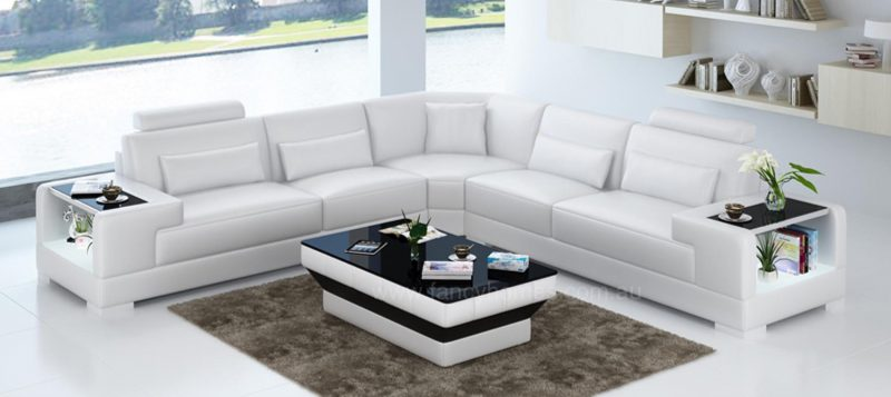 Fancy Homes Verena-B corner leather sofa in white leather with built-in side tables and LED lighting system