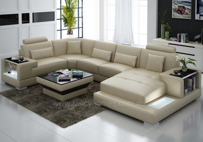 Fancy Homes Verena modular leather sofa in beige leather with LED lighting system and built-in side tables