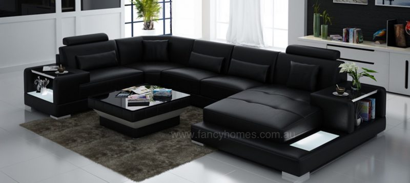 Fancy Homes Verena modular leather sofa in black leather with LED lighting system and built-in side tables