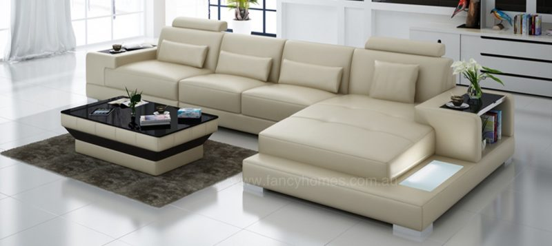 Fancy Homes Verena-C chaise leather sofa in beige leather with LED lighting system and built-in side tables on armrests