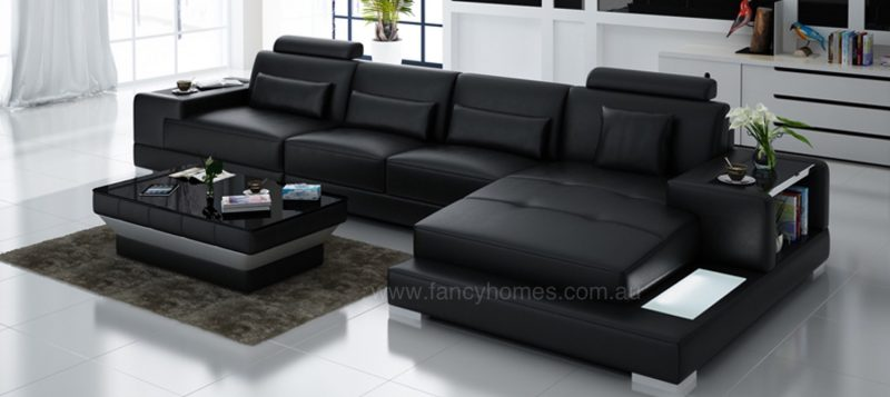 Fancy Homes Verena-C chaise leather sofa in black leather featuring LED lighting and built-in side tables on armrests