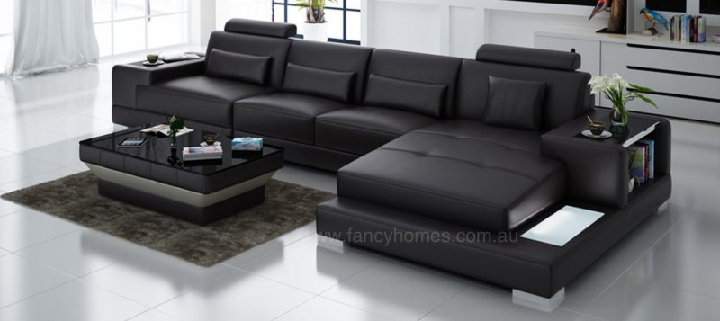 Fancy Homes Verena-C chaise leather sofa in brown leather featuring LED lighting system and built-in side tables