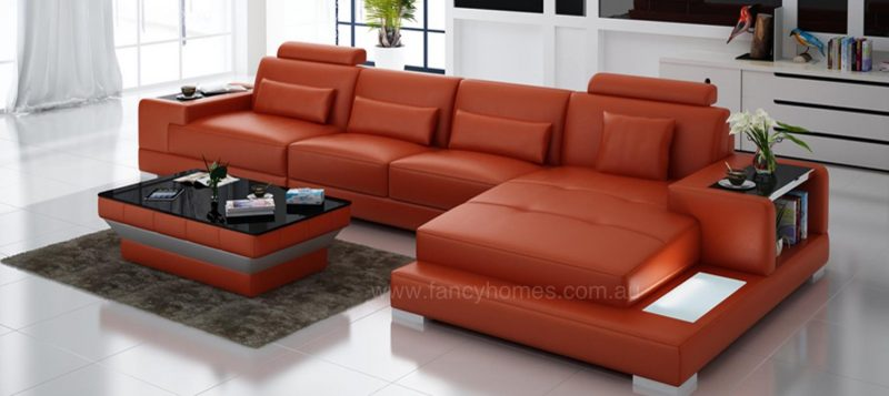Fancy Homes Verena-C chaise leather sofa in orange leather featuring LED lighting system and built-in side table