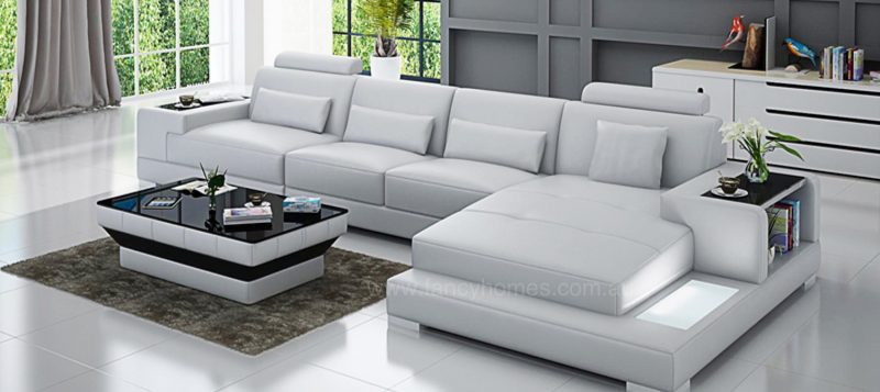 Fancy Homes Verena-C chaise leather sofa in white leather featuring LED lighting system and built-in side tables