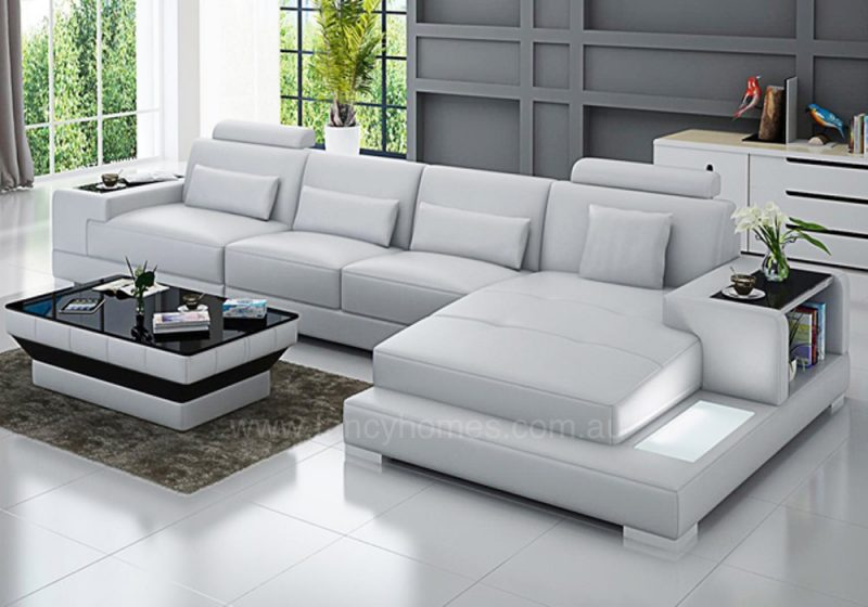 Fancy Homes Verena-C chaise leather sofa in white leather