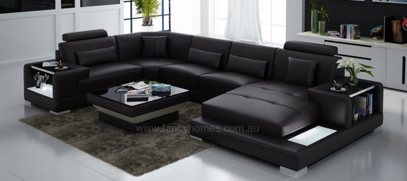 Fancy Homes Verena modular leather sofa in brown leather with LED lighting system and built-in side tables