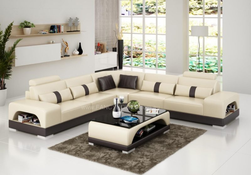 Fancy Homes Lori-B corner leather sofa in beige and black leather