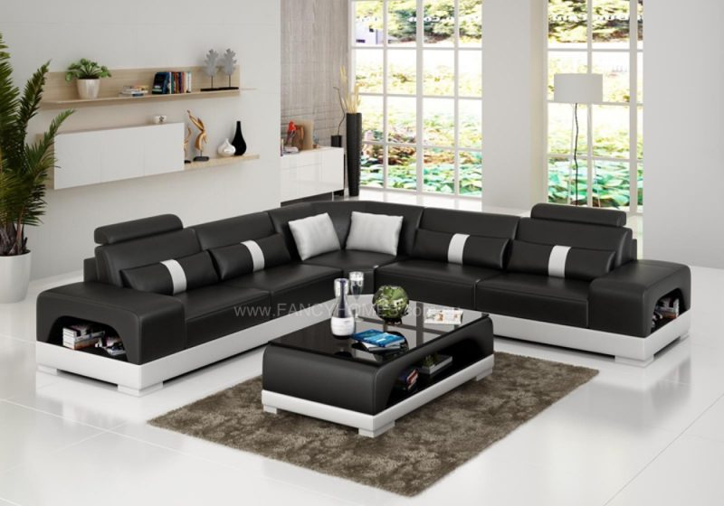 Fancy Homes Lori-B corner leather sofa in black and white leather