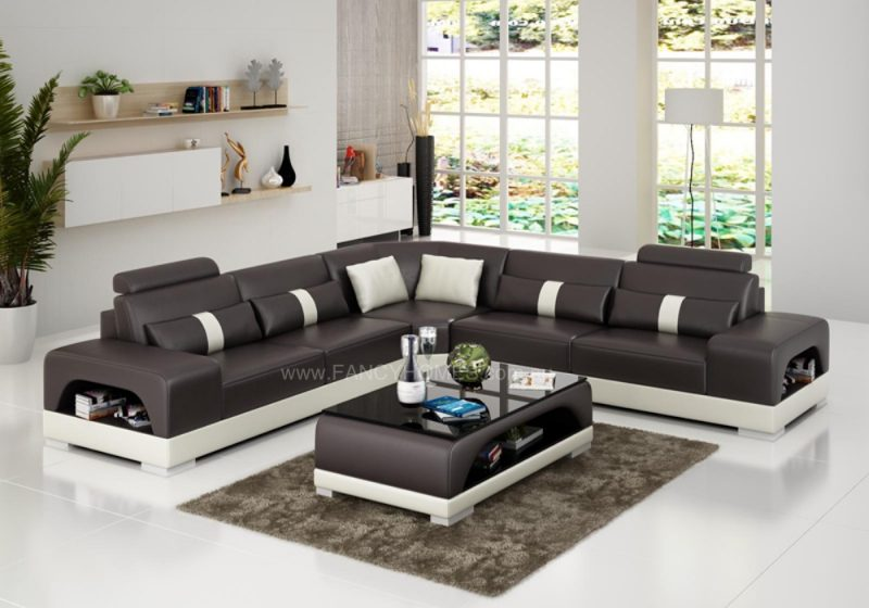 Fancy Homes Lori-B corner leather sofa in brown and white leather
