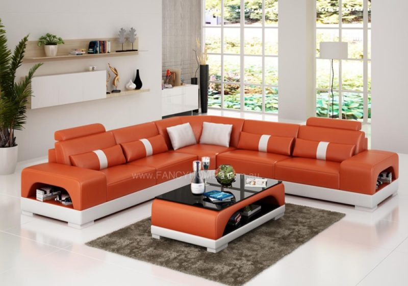 Fancy Homes Lori-B corner leather sofa in orange and white leather
