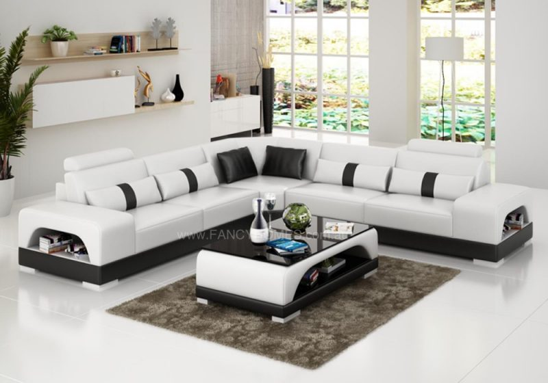 Fancy Homes Lori-B corner leather sofa in white and black leather
