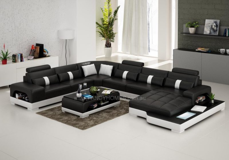 Fancy Homes Lori modular leather sofa in black and white leather