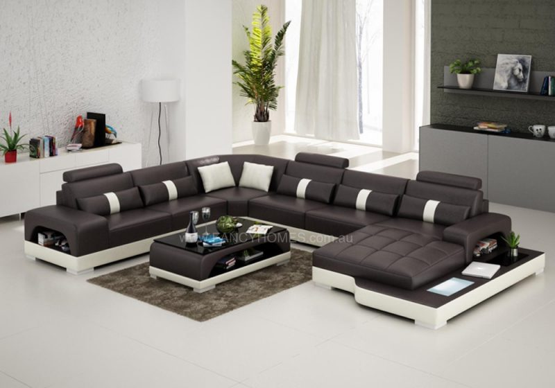Fancy Homes Lori modular leather sofa in brown and white leather