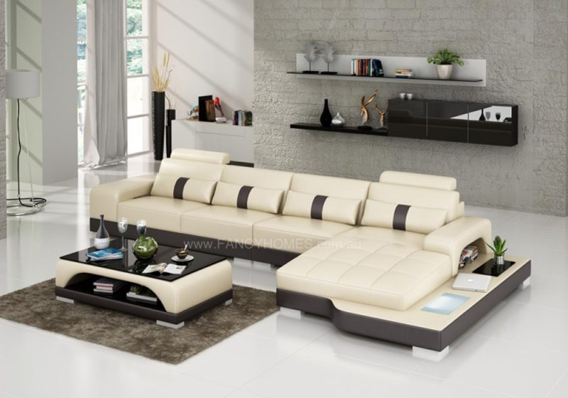 Fancy Homes Lori-C chaise leather sofa in beige and brown leather