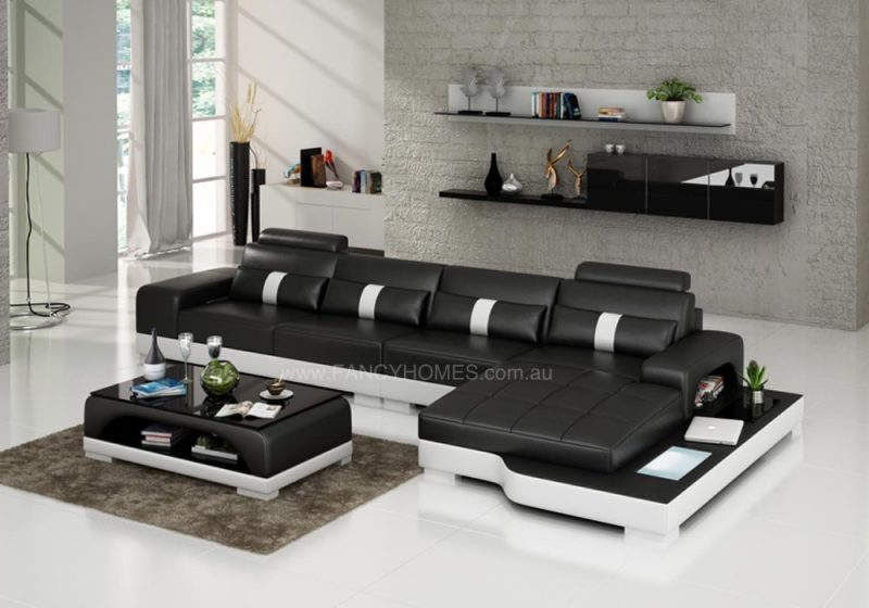 Fancy Homes Lori-C chaise leather sofa in black and white leather