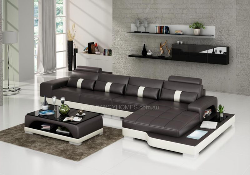 Fancy Homes Lori-C chaise leather sofa in brown and white leather