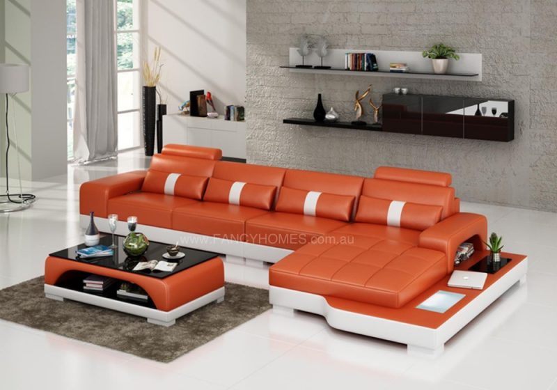 Fancy Homes Lori-C chaise leather sofa in orange and white leather